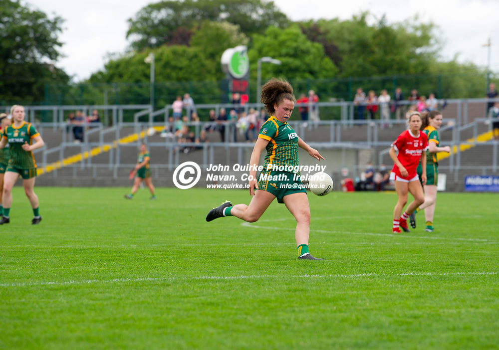 10-07-21. Meath v Cork - LGFA All-Ireland Senior Championship - Group 3 Round 1 at St. Brendan's Park, Birr.<br /> Emma Duggan, Meath in action against Cork.<br /> Photo: John Quirke / www.quirke.ie<br /> ©John Quirke Photography, 16 Proudstown Road, Navan. Co. Meath. (info@quirke.ie / 046-9028461 / 087-2579454).