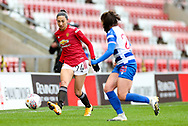 Manchester United forward Christian Press (24) plays a pass during the FA Women's Super League match between Manchester United Women and Reading LFC at Leigh Sports Village, Leigh, United Kingdom on 7 February 2021.