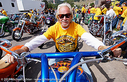 Arlen Ness on the Gibson bike at the Hamster Ride-In to Sturgis during Bike Week. Photography ©2004 Michael Lichter.