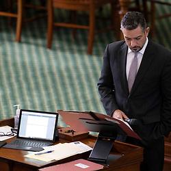 Texas Senate action on Monday, May 17, 2021 showing Sen.  Cesar Blanco, D-El Paso