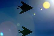 Alamogordo, N.M. Sept. 20, 2001.  Two F-117A Nighthawk Stealth Fighter depart Holloman Air Force Base.  (Pat Vasquez-Cunningham/Gamma for TIME)
