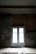 empty building with French doors
