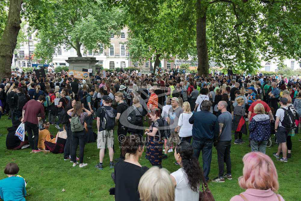 London, May 29th 2107.  Anti-foxhunting protesters gather in Cavendish Square ahead of their march through London to Downing Street following Prime Minister Theresa May's hint that she could allow a Parliamentary debate on the unbanning of the sport.