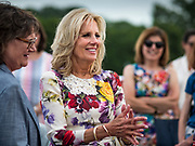 28 JUNE 2019 - DES MOINES, IOWA: Dr. JILL BIDEN, center, talks to voters at the State Historical Museum of Iowa. Dr. Biden was in Des Moines Friday to campaign for her husband, former Vice President Joe Biden. Vice President Biden, who was Vice President for 8 years during the Obama administration, is one of the Democratic front runners for the Presidency. Iowa traditionally hosts the the first selection event of the presidential election cycle. The Iowa Caucuses will be on Feb. 3, 2020.              PHOTO BY JACK KURTZ