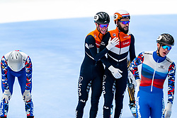 Sven Roes, Sjinkie Knegt in action on the 5000 meter relay during ISU World Cup Finals Shorttrack 2020 on February 15, 2020 in Optisport Sportboulevard Dordrecht.