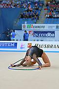 Nazarenkova Elizaveta of Uzbekistan competes durin Individual qulification of hoop in the World Cup at Adriatic Arena on April 10, 2015 in Pesaro, Italy. Elizaveta is an individual rhythmic gymnast of Russian origin born in Murmansk in 1995.