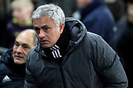 Manchester United Manager Jose Mourinho looks on. . Premier league match, Tottenham Hotspur v Manchester Utd at Wembley Stadium in London on Wednesday 31st January 2018.<br /> pic by Steffan Bowen, Andrew Orchard sports photography.