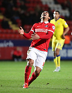 Charlton Athletic striker Reza Ghoochannejhad after missing a golden chance during the Sky Bet Championship match between Charlton Athletic and Leeds United at The Valley, London, England on 12 December 2015. Photo by Matthew Redman.