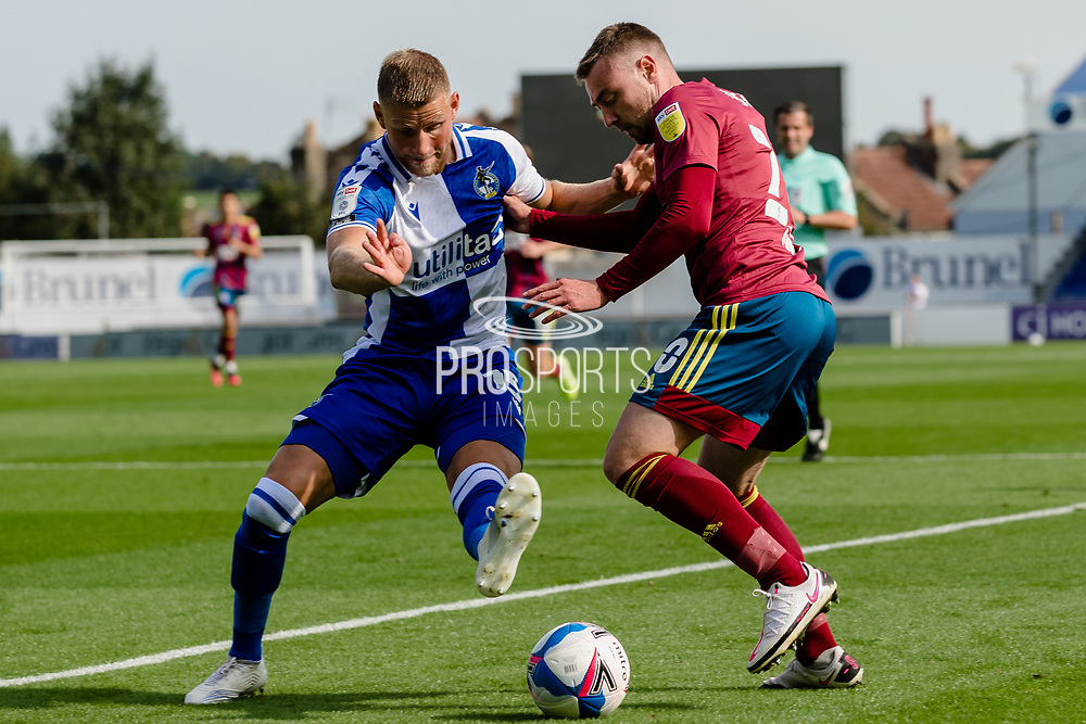 Bristol Rovers defender Alfie Kilgour (15) shadows Ipswich Town forward Freddie Sears (20) during the EFL Sky Bet League 1 match between Bristol Rovers and Ipswich Town at the Memorial Stadium, Bristol, England on 19 September 2020.