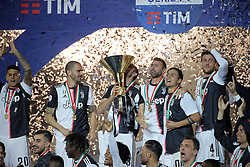 May 19, 2019 - Turin, Turin, Italy - Giorgio Chiellini #3 of Juventus FC celebrate with the trophy after winning the Serie A Championship at the end of the serie A match between Juventus FC and Atalanta BC at Allianz Stadium on May 19, 2019 in Turin, Italy. (Credit Image: © Giuseppe Cottini/NurPhoto via ZUMA Press)