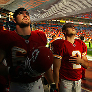 Kansas City Chiefs defensive end Jared Allen and punter Dustin Colquitt stood in the Miami Dolphins tunnel during the National Anthem prior to the Chiefs game vs. the Miami Dolphins Friday night at Dolphins Stadium in Miami. The game was moved to a Friday night game due to Hurricane Wilma moving in from the Gulf of Mexico.