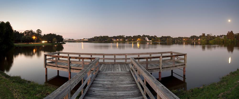 The Kiwanis Club pier at City Park Lake in Baton Rouge, Louisiana