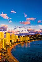 Overview of Waikiki Beach and Diamond Head at sunset, Honolulu, Hawaii USA