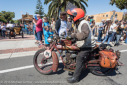 3,400 miles from the Atlantic to the Pacific - The journey is over. Ziggy riding his 1916 Indian crosses the finish line of the Motorcycle Cannonball Race of the Century. Stage-15 ride from Palm Desert, CA to Carlsbad, CA. USA. Sunday September 25, 2016. Photography ©2016 Michael Lichter.