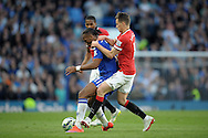 Adnan Januzaj of Manchester United grabs Didier Drogba of Chelsea. Barclays Premier league match, Chelsea v Manchester Utd at Stamford Bridge Stadium in London on Saturday 18th April 2015.<br /> pic by John Patrick Fletcher, Andrew Orchard sports photography.
