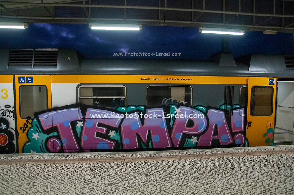 Graffiti painted on a train. Photographed in Sintra train station, Portugal