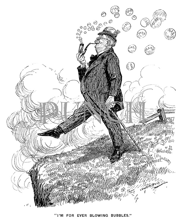 "I'm For Ever Blowing Bubbles."" (a German blows several Deutsch Marks from his pipe as he walks dangerously close to the edge of a cliff during the InterWar era)"