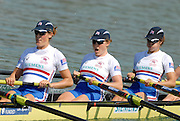 Munich, GERMANY, 27.08.2007, GBR W8+, right to left, Baz MOFFAT, Alice FREEMAN, Louisa REEVE, on the second day on the  Munich Olympic Regatta Course, venue for 2007 World Rowing Championship, Bavaria. [Mandatory Credit. Peter Spurrier/Intersport Images]..... , Rowing Course, Olympic Regatta Rowing Course, Munich, GERMANY