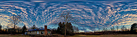 Three-hundred Sixty Degree Panorama of Late Afternoon Winter Clouds and Sky Over New Jersey. Composite of 12 portrait images taken with a Nikon D810a camera and 14-24 mm f/2.8 zoom lens (ISO 200, 14 mm, f/8, 1/100 sec). Raw images processed with Capture One Pro, Photoshop CC, and AutoGiga Pan Promo.