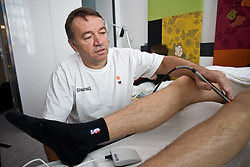 Physiotherapist  Teo Djekic at  Goran Dragic's rehabilitation in a Andel's Hotel during Eurobasket 2009, on September 15, 2009 in  Lodz, Poland.  (Photo by Vid Ponikvar / Sportida)