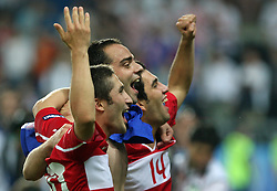 Turkish players (right Arda Turan) celebrate after penalty shots during the UEFA EURO 2008 Quarter-Final soccer match between Croatia and Turkey at Ernst-Happel Stadium, on June 20,2008, in Wien, Austria.  Won of Turkey after penalty shots. (Photo by Vid Ponikvar / Sportal Images)