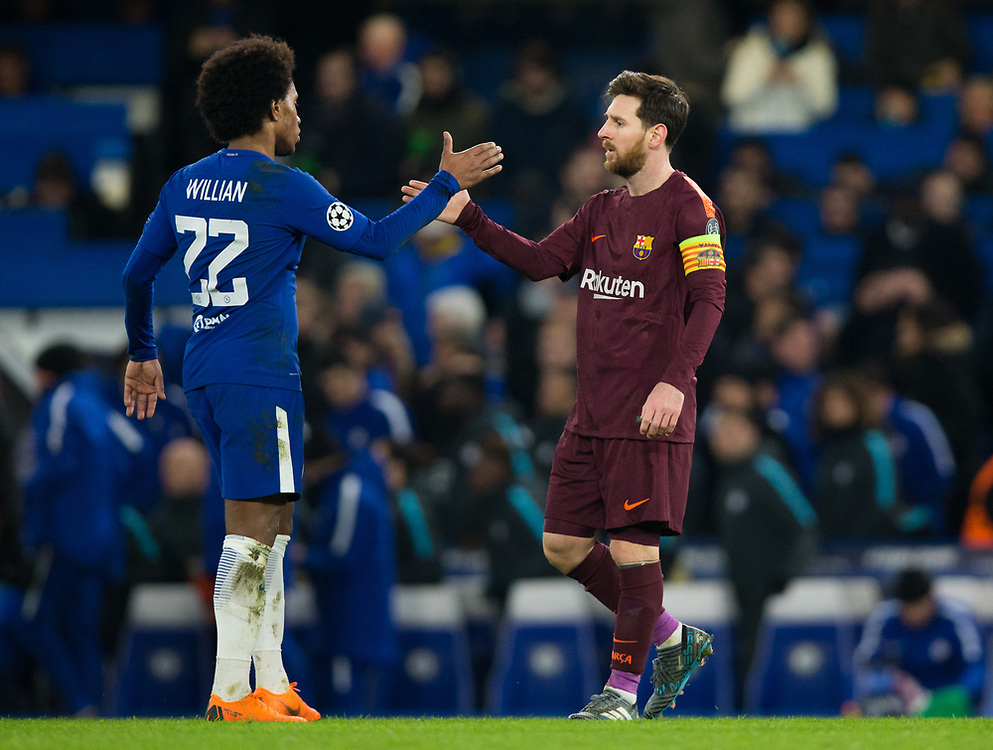 Barcelona's Lionel Messi shakes hands with Chelsea's Willian at full time <br /> <br /> Photographer Craig Mercer/CameraSport<br /> <br /> UEFA Champions League Round of 16 1st Leg - Chelsea v Barcelona - Tuesday 20th February 2018 - Stamford Bridge - London<br />  <br /> World Copyright © 2017 CameraSport. All rights reserved. 43 Linden Ave. Countesthorpe. Leicester. England. LE8 5PG - Tel: +44 (0) 116 277 4147 - admin@camerasport.com - www.camerasport.com