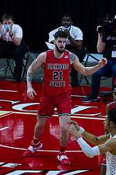 NORMAL, IL - February 27:  Dusan Mahorcic during a college basketball game between the ISU Redbirds and the Northern Iowa Panthers on February 27 2021 at Redbird Arena in Normal, IL. (Photo by Alan Look)