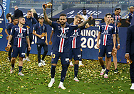 Neymar Jr of PSG and teammates celebrate the victory during the trophy ceremony following the French Ligue Cup final match between Paris Saint-Germain (PSG) and Olympique Lyonnais (OL, Lyon) on July 31, 2020 at the Stade de France, in Saint-Denis, near Paris, France - Photo Juan Soliz / ProSportsImages / DPPI