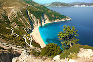 The famous Turquoise waters of Myrtos Beach (??????? ??????), Kefalonia, Greek Ionian Islands .<br /> <br /> Visit our GREEK HISTORIC PLACES PHOTO COLLECTIONS for more photos to download or buy as wall art prints https://funkystock.photoshelter.com/gallery-collection/Pictures-Images-of-Greece-Photos-of-Greek-Historic-Landmark-Sites/C0000w6e8OkknEb8