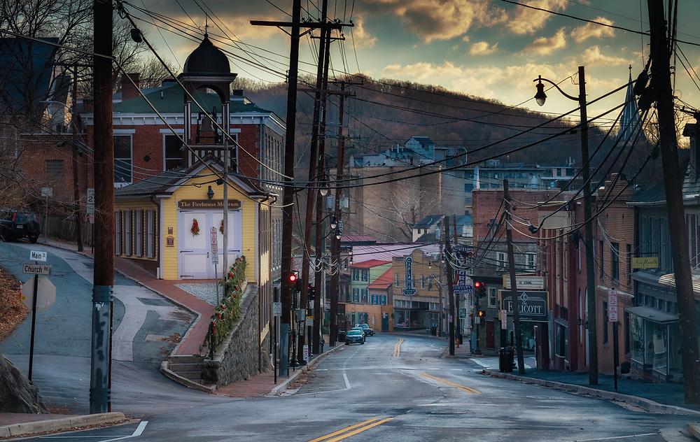 Christmas Morning, Ellicott City, Maryland looking down Main Street.