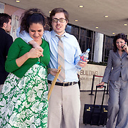 Eric Stauth and his wife, Alma, outside the Los Angeles Federal Building where Alma was to appear at a deportation hearing at the Department of Homeland Security. Alma is an undocumented immigrant who was brought here as a toddler. The couple, expecting their first child, waiting nervously outside until hearing from her lawyer for fear the she would be immediately deported. They were happy when they heard she would not be immediately deported and the chances of gaining permanent residency due to hardship was possible. Please contact Todd Bigelow directly with your licensing requests.