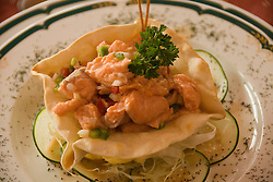 Chile, Lake Country: Hotel Natura in Peulla, scene of fine dining and luxury lodging. Salmon ceviche dish..Photo #: ch665-33229.Photo copyright Lee Foster www.fostertravel.com, lee@fostertravel.com, 510-549-2202.