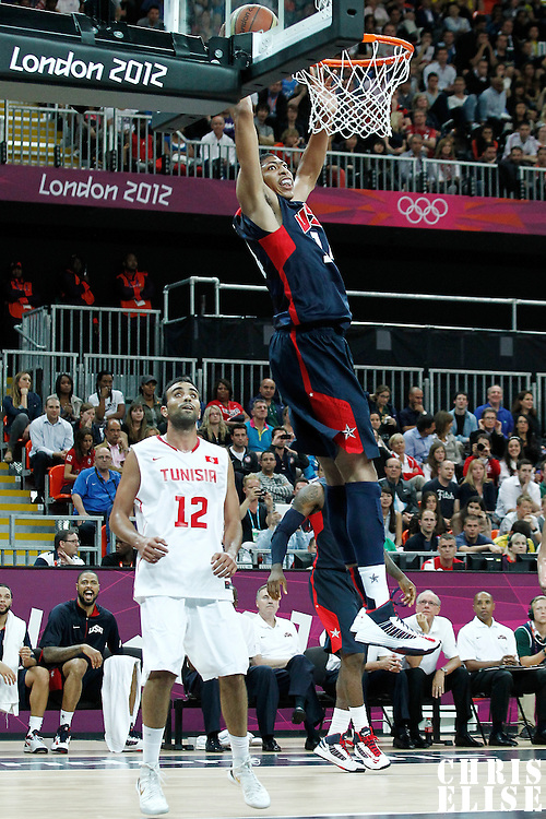 31 July 2012: USA Anthony Davis dunks the ball during 110-63 Team USA victory over Team Tunisia, during the men's basketball preliminary, at the Basketball Arena, in London, Great Britain.