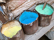 Clothing dyes in Srinigar, Kashmir, India