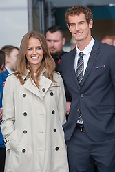 Kim and Andy leaving. Andy Murray received the Freedom of Stirling from Stirling Council, who have recognised the Wimbledon champion's sporting achievements at a special council meeting at Dunblane High School.<br /> © Michael Schofield.