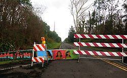July 9, 2018 - Pahoa, Hawaii, U.S - Barricade on Leilani Avenue is blocked for safety within the Leilani Estates Subdivision as the Kilauea Volcano east rift zone eruption continues Sunday, June 10, 2018, in Pahoa, Hawaii. Photo by LE Baskow/LeftEyeImages (Credit Image: © L.E. Baskow via ZUMA Wire)