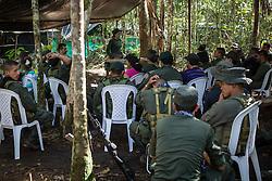 El Diamante, Meta, Colombia - 15.09.2016        <br /> <br /> Guerilla meeting during the 10th conference of the marxist FARC-EP in El Diamante, a Guerilla controlled area in the Colombian district Meta. Few days ahead of the peace contract passing after 52 years of war with the Colombian Governement wants the FARC decide on the 7-days long conferce their transformation into a unarmed political organization. <br /> <br /> Guerilla-Treffen bei der zehnten Konferenz der marxistischen FARC-EP in El Diamante, einem von der Guerilla kontrollierten Gebiet im kolumbianischen Region Meta. Wenige Tage vor der geplanten Verabschiedung eines Friedensvertrags nach 52 Jahren Krieg mit der kolumbianischen Regierung will die FARC auf ihrer sieben taegigen Konferenz die Umwandlung in eine unbewaffneten politischen Organisation beschlieflen. <br />  <br /> Photo: Bjoern Kietzmann
