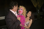 Julie Atherton ( with puppet Lucy the Slut) and David Hasselhof.  Opening night of Cameron Mackintosh's new production 'Avenue Q' after-party at Mint Leaf. Suffolk Pl. London. 28 June 2006. ONE TIME USE ONLY - DO NOT ARCHIVE  © Copyright Photograph by Dafydd Jones 66 Stockwell Park Rd. London SW9 0DA Tel 020 7733 0108 www.dafjones.com