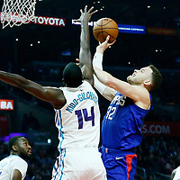 31 December 2017: LA Clippers forward Blake Griffin (32) goes for the layup against Charlotte Hornets forward Michael Kidd-Gilchrist (14) during the LA Clippers 106-98 victory over the Charlotte Hornets, at the Staples Center, Los Angeles, California, USA.
