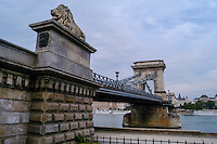 Budapest, Hungary.  The Széchenyi Chain Bridge, opened in 1849. Spanning the Danube river from Buda to Pest.