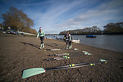 Putney, London, Varsity, Tideway Week, 5th April 2019, Embankment, CUWBC Collecting their blades, before boating on Friday Morning, Oxford Cambridge Media week, Championship Course,<br /> [Mandatory Credit: Peter SPURRIER], Friday,  05.04.19,