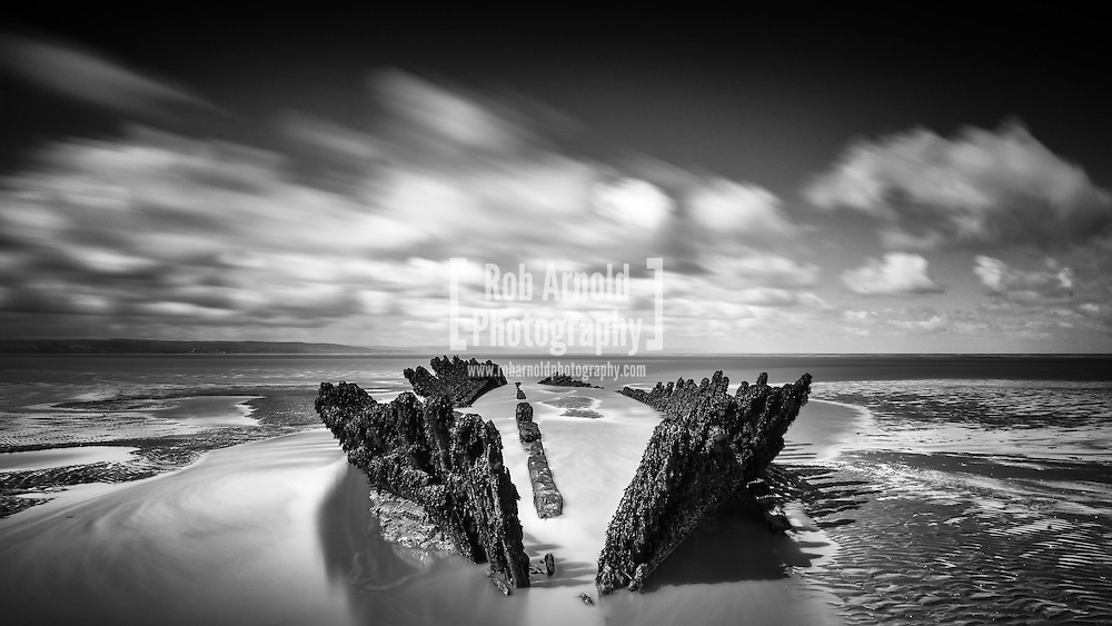 The remains of the SS Nornen, a Norwegian Barque (sailing vessel) on Berrow Sands near Burnham-On-Sea in Somerset. The ship ran aground on March 3rd 1897 in strong gales. All 10 crew, and their dog were rescued and taken safely to shore.