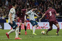 March 22, 2019 - Madrid, Spain - Argentina's Leo Messi and Venezuela's Moreno during International Adidas Cup match between Argentina and Venezuela at Wanda Metropolitano Stadium. (Credit Image: © Legan P. Mace/SOPA Images via ZUMA Wire)