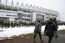 Derby fans in the snowy scenes outside the stadium before Derby County's and Fulham's match at Pride Park Stadium