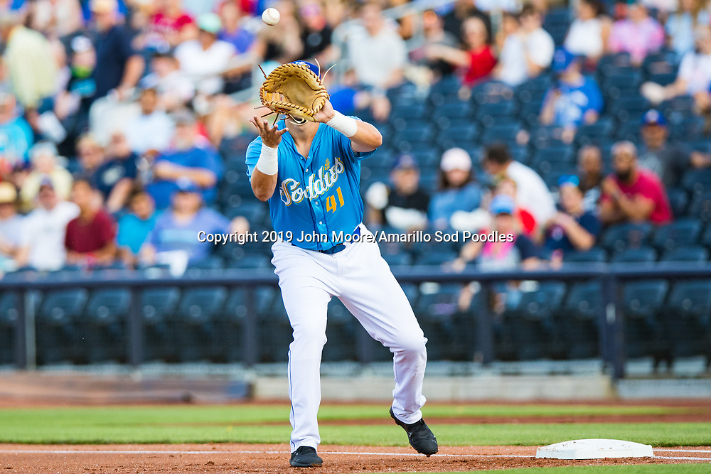 Amarillo Sod Poodles infielder Brad Zunica (41) catches a throw against the Northwest Arkansas Travelers on Sunday, July 21, 2019, at HODGETOWN in Amarillo, Texas. [Photo by John Moore/Amarillo Sod Poodles]