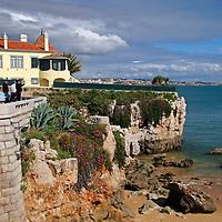 Europe, Portugal, Cascais. Praia da Rainha, a beach in Cascais on the Estoril coast.