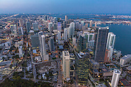 Aerial view of downtown Miami at twilight looking north from the Brickell business district.