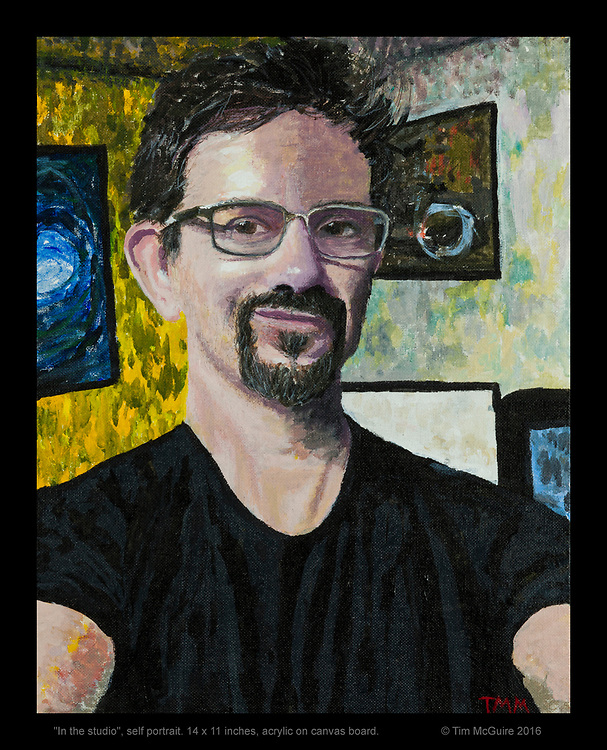 """""""In the studio"""", self portrait. © Tim McGuire 2016  Original is SOLD but there are prints available."""