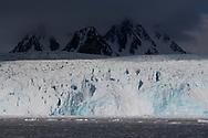 Polar bear in front of a massive glacier front, Ursus maritimus, Svalbard, Spitzbergen, Arctic Norway