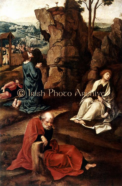 Jesus on the Mount of Olives'Pieter  Koeck (1502-1550), also called Pieter Koeck van Alest, Flemish painter. Oil on wood.